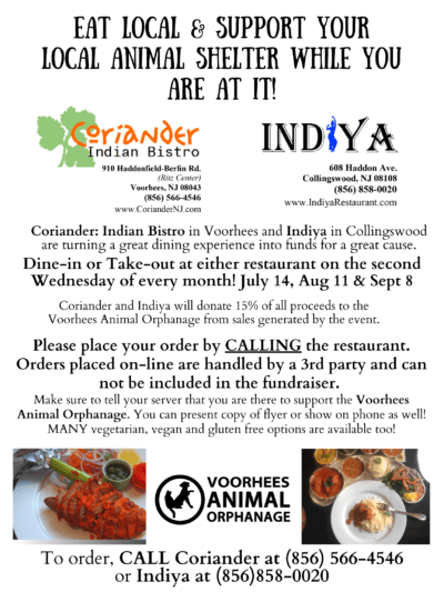 Dine & Donate at Coriander and Indiya! @ Coriander Indian Bistro in Voorhees and Indiya in Collingswood